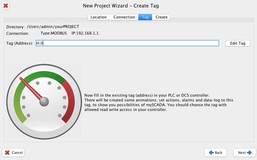 project wizard create tag